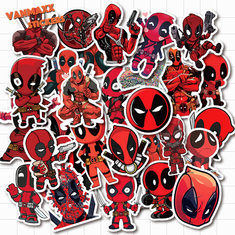 VANMAXX 35 PCS Marvel Avenger Superhero Deadpool Graffiti Stickers Waterproof PVC Decal For Laptop Helmet Bicycle Luggage Car