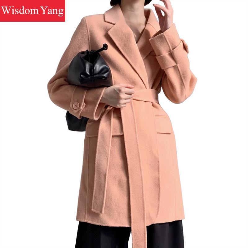 Winter Wrap Coat Women Sheep Wool Fleece Grey Bodycon Loose Long Woolen Coat Yellow Clothes Outerwear Belt Overcoat Korean Coats
