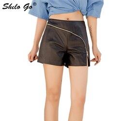 Echt Lederen Broek Sexy Minimalistische Cross Ritssluiting Hoge Taille Schapenvacht Hot Shorts Vrouwen Herfst Winter Casual Laarzen Shorts