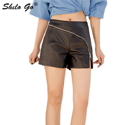 Genuine Leather Shorts Sexy Minimalist Cross Zip Front High Waist Sheepskin Hot Shorts Women Autumn Winter Casual Boots Shorts
