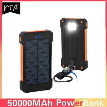 Solar Power Bank Waterproof 50000mAh Solar Charger USB Ports External Charger Powerbank for Xiaomi S