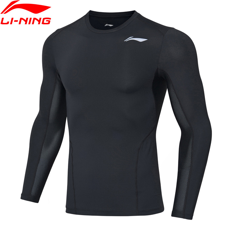 Li-Ning Men Training Base Layer 88% Nylon 12% Spandex LiNing Li Ning Tight Fit Long Sleeve Sports T-Shirts AUDP063 MTL1051
