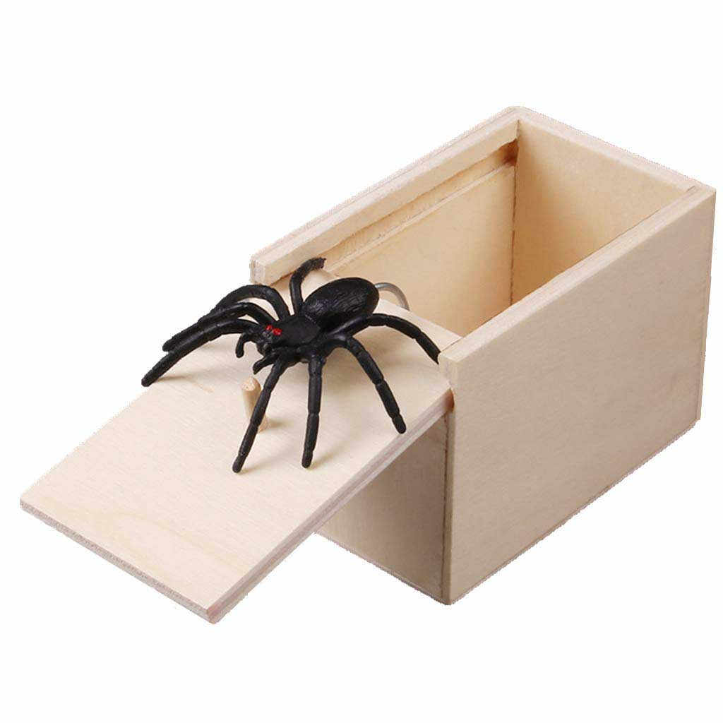 April Fool's Day gift Wooden Prank Trick Practical Joke Home Office Scare Toy Box Gag Spider Mouse Kids Funny Play Joke Gift Toy