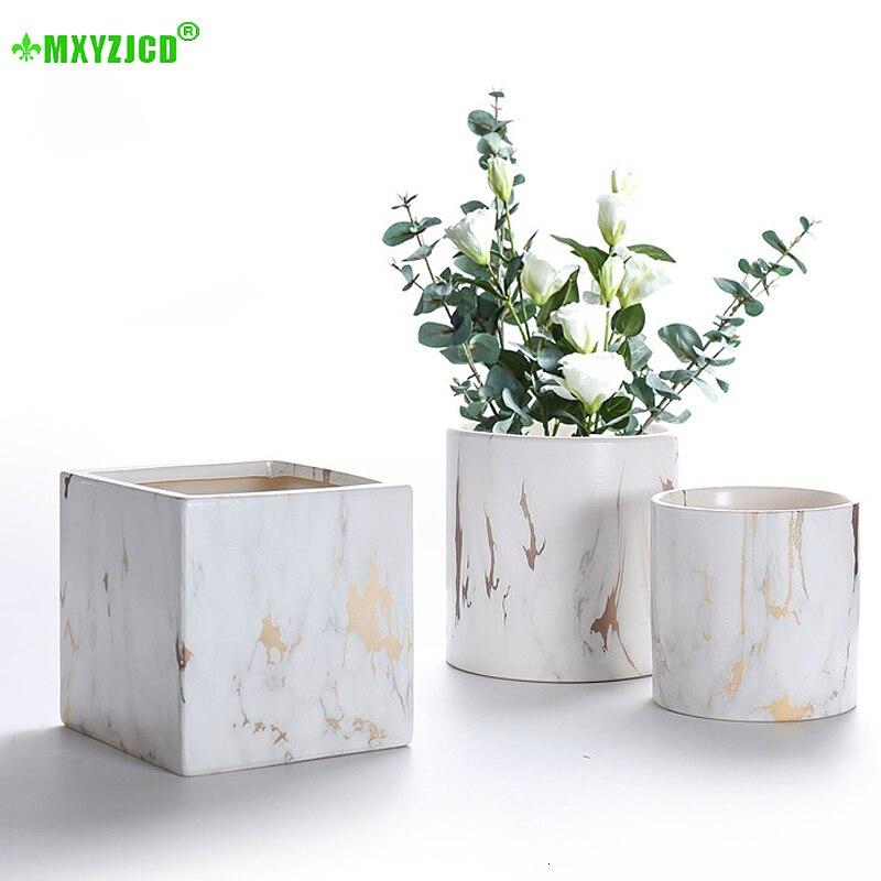 Marble Pattern Ceramic Flower Pot Square Cylinder Creative Flower Pot Desktop Flower Arrangement Container Home Decoration|Flower Pots & Planters| |  - title=