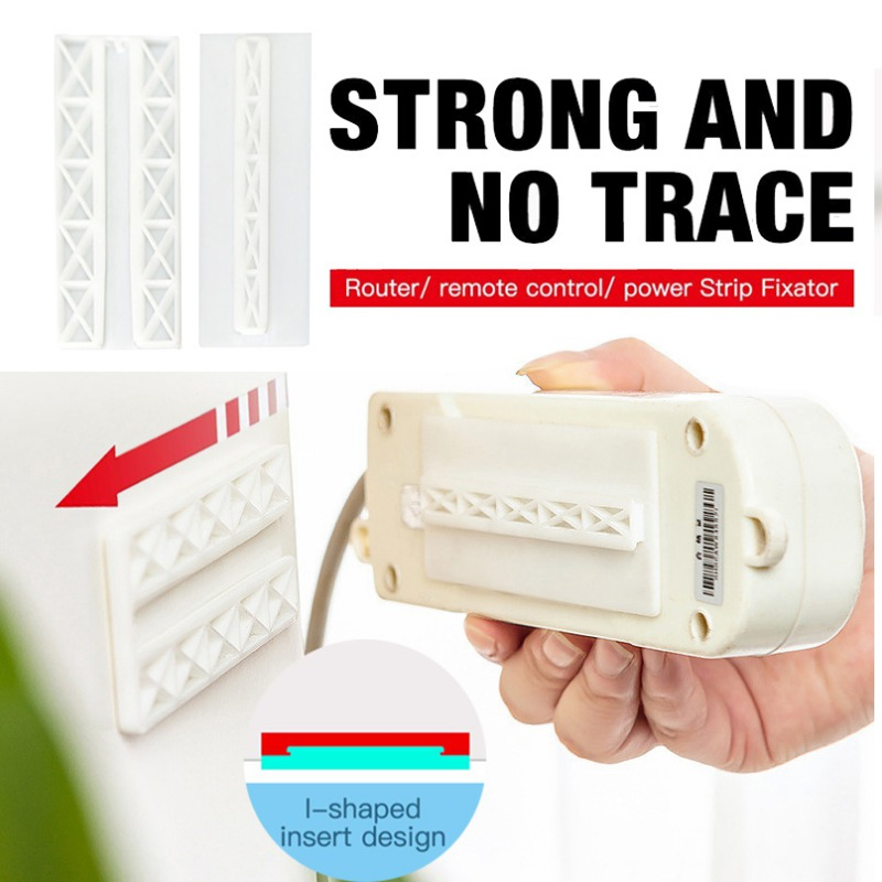 Self Adhesive Wall Mount Power Strip Fixator Punch-Free Seamless Power Strip Holder Stand For Fixed Socket Tissue Box