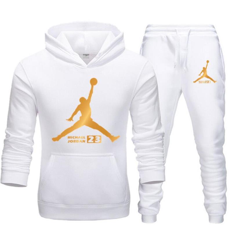 New TracksuitBrand Men Sportswear Set Fleece Hoodie Suit Jordan Letter PrintSpring Autumn Winter Hoodie+Pants Set