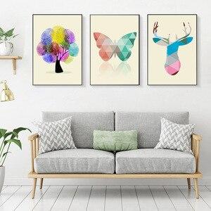 Stampe Quadri Bilder Wohnzimmer Плакат Украшение для стены художественный холст печать домашний Декор Современный абстрактный Лось отпечаток пальца дер...