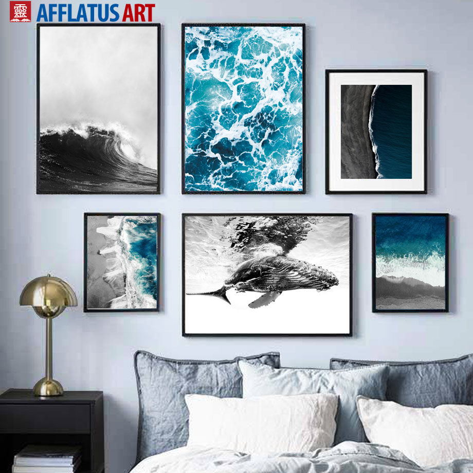 Blue Sea Black White Wave Beach Whale Wall Art Canvas Painting Nordic Posters And Prints Wall Pictures For Living Room Decor