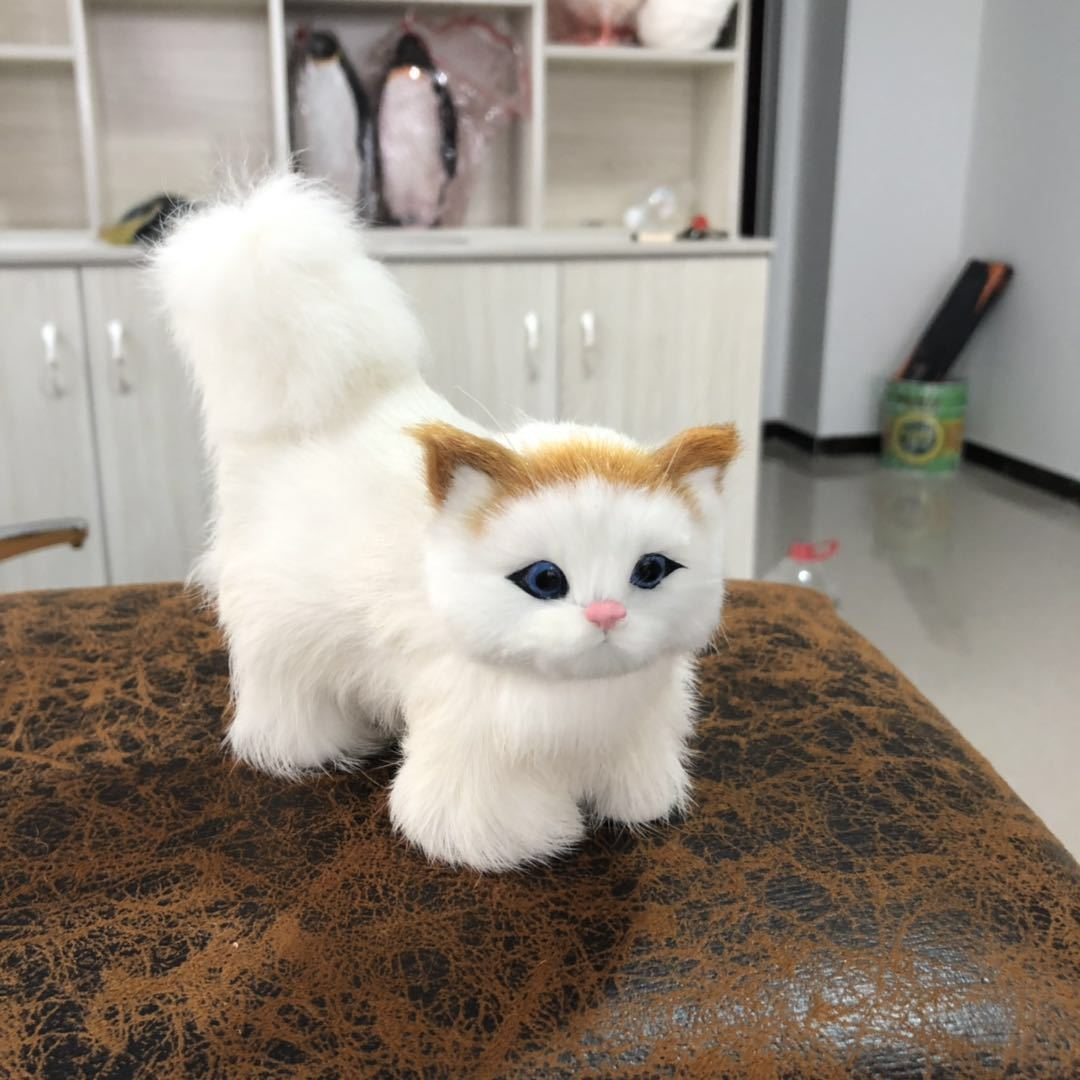 Simulation Small Station Cat Give Friend Birthday Gift Simulation Kitty Home Furnishing Decorate Product Kitty Model
