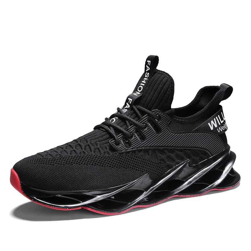 Новинка, мужские кроссовки для бега, бега, прогулок, спорта, высокое качество, на шнуровке, дышащие кроссовки - Цвет: 1912Black