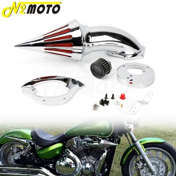 Aluminum Chrome Motorcycle Washable Spike Air Cleaner Intake Air Filter Kits For Honda VTX 1300 VTX1300 All Years image