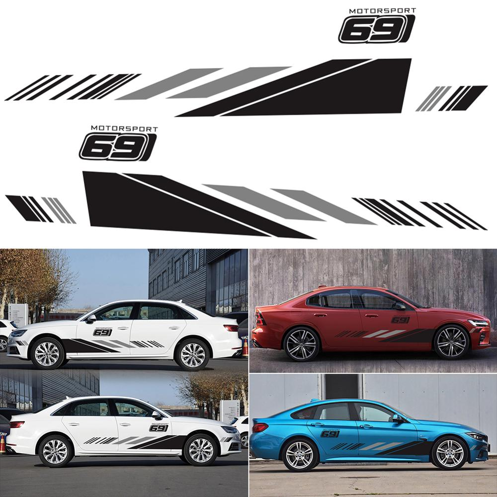 2x Racing Sports Car Graphics Stickers Auto SUV Body Two Side Vinyl Waist Decals
