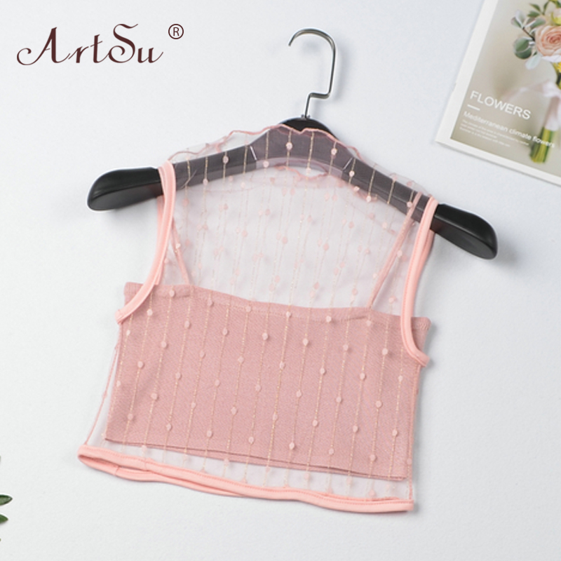 ArtSu Women Tank Top Two Piece Clubwear Female Polka Dot Print Mesh Crop Top Sexy Transparent Camisole Summer Tops Black Pink 2