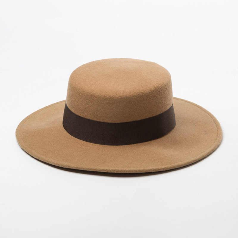 여자 와이드 브림 페도라 100% 울 플랫 탑 모자 리본 바느질 악센트 교회 드레스 더비 숙녀 모자 따뜻한 겨울 모자 모자