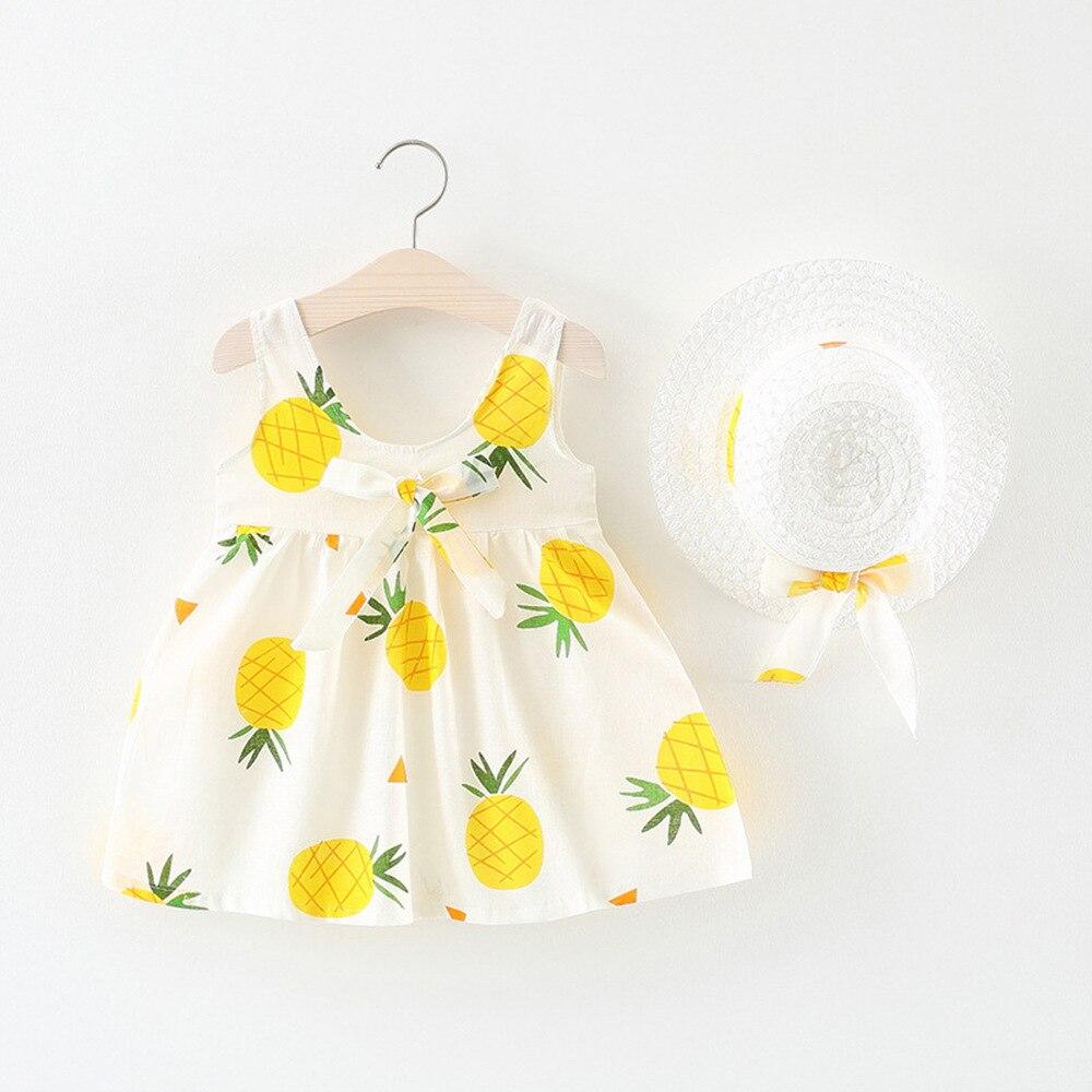 Meninas do bebê vestido de verão conjuntos de roupas 2020 da criança menina abacaxi vestido + arco chapéu roupas bebê conjunto havaiano vestido de festa