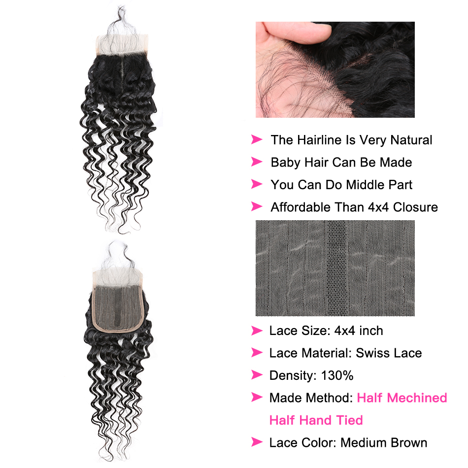 YYong Half Handtied T 4X1+1X4 Lace Closure With Bundles Brazilia Deep Wave   Bundles With Lace Closure Affordable 2