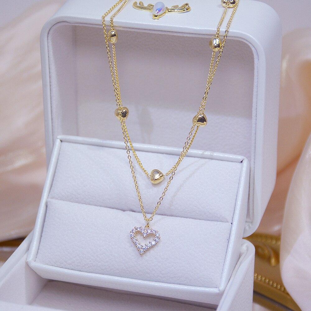 14k véritable or Double couche coeur collier brillant Bling AAA Zircon femmes clavicule chaîne élégant charme mariage pendentif bijoux