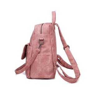 Image 4 - Leather Backpack Women Shoulder Bag Vintage Bagpack Travel Backpacks For School Teenagers Girls Back Pack Women Mochila Feminina