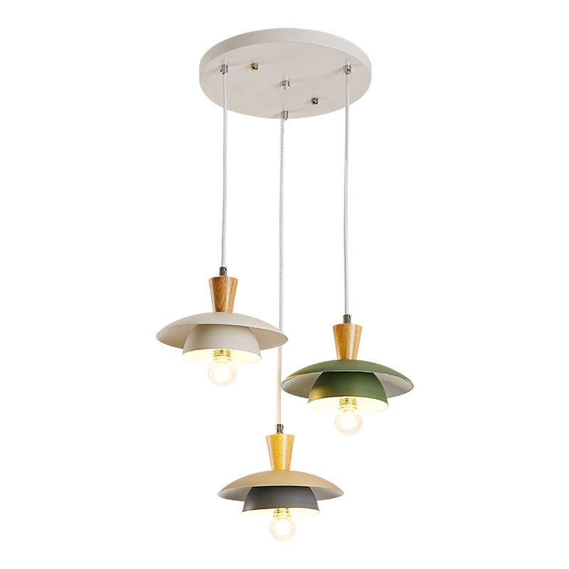 BOTIMI Nordic LED Pendant Lights With Metal Lampshade For Dining Triple Wooden Pendant Lamp Indoor Cord Coffee Shop Lighting|Pendant Lights| |  - title=
