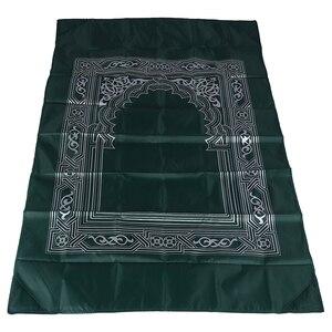 Image 3 - Мусульманский молитвенный коврик, переносные плетеные коврики из полиэстера, простой принт с компасом в сумке, новый стильный Дорожный Коврик для дома, Одеяло 100*60 см