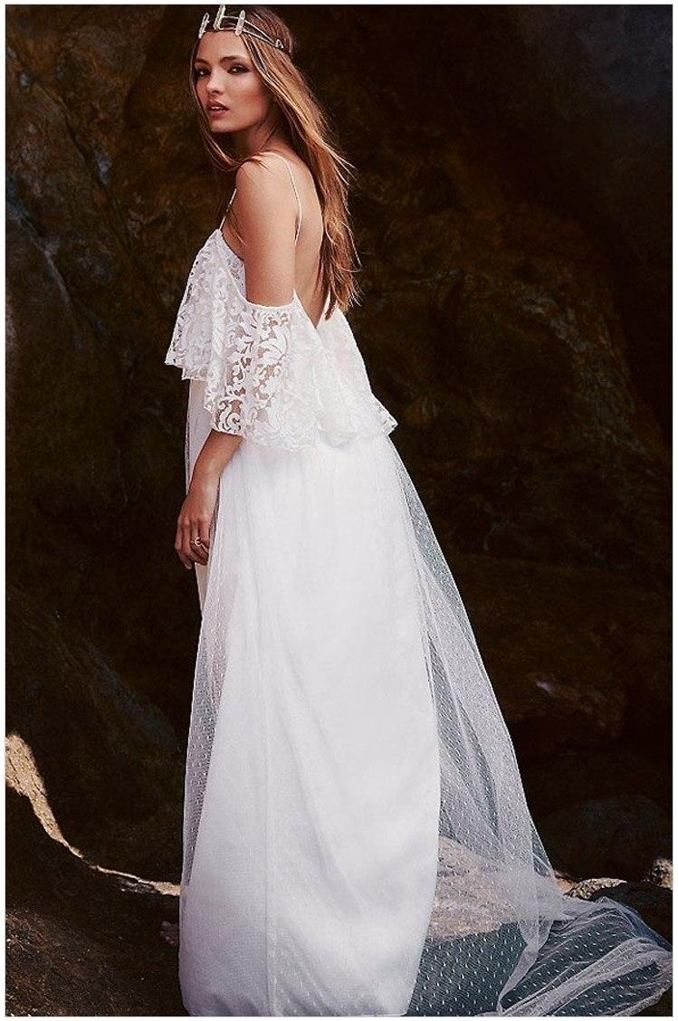 Robe De Mariage Bridal Gowns 2018 White Lace Boat Neck Cap Sleeve Vestido De Noiva Spaghetti Straps Mother Of The Bride Dresses