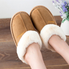 Womens Winter Slippers Large Size 43-46 Sewing Soft Fur Woman Flock Non Slip Indoor For Women Rubber