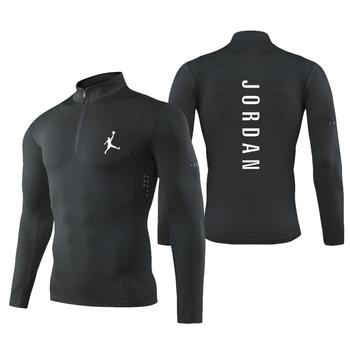Męskie koszulki do biegania sportowe koszulki kompresyjne rajstopy na siłownię odzież sportowa szybkie suche koszulki piłkarskie męskie koszulki treningowe dres tanie i dobre opinie RANMO CN (pochodzenie) Wiosna summer AUTUMN Winter POLIESTER Dobrze pasuje do rozmiaru wybierz swój normalny rozmiar Black White Gray Red