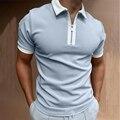 Рубашка-поло мужская с коротким рукавом, топ свободного покроя на молнии, универсальная одежда, большие размеры, на лето