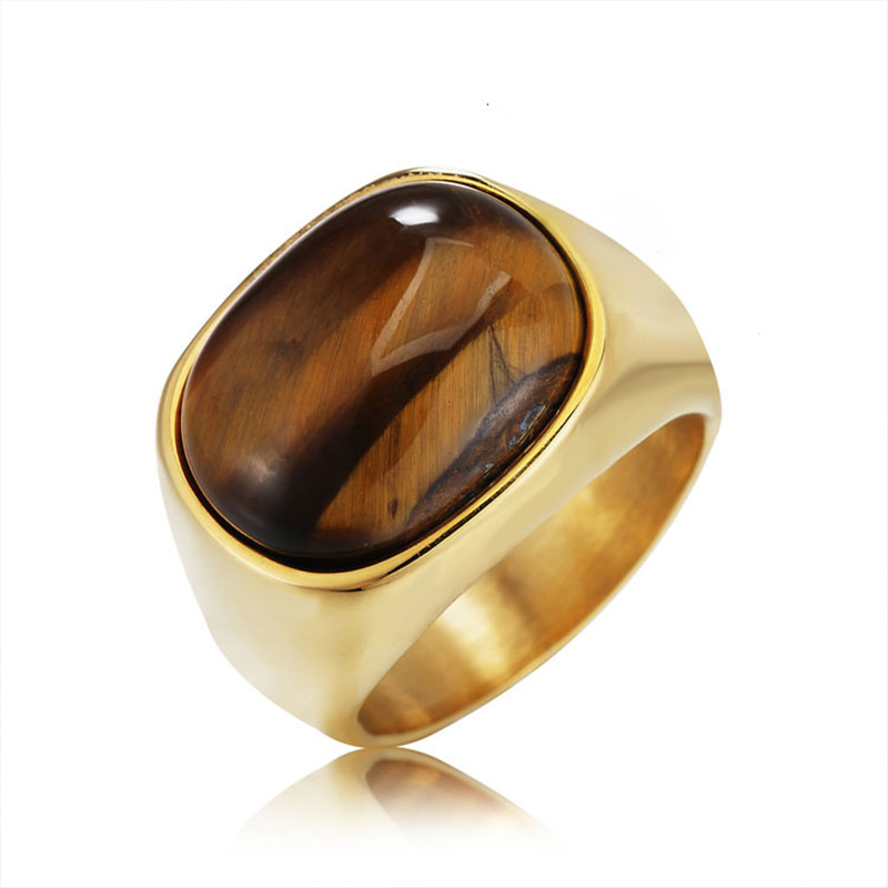 Retro style simple oval zircon men's ring wedding engagement jewelry party glamour accessories