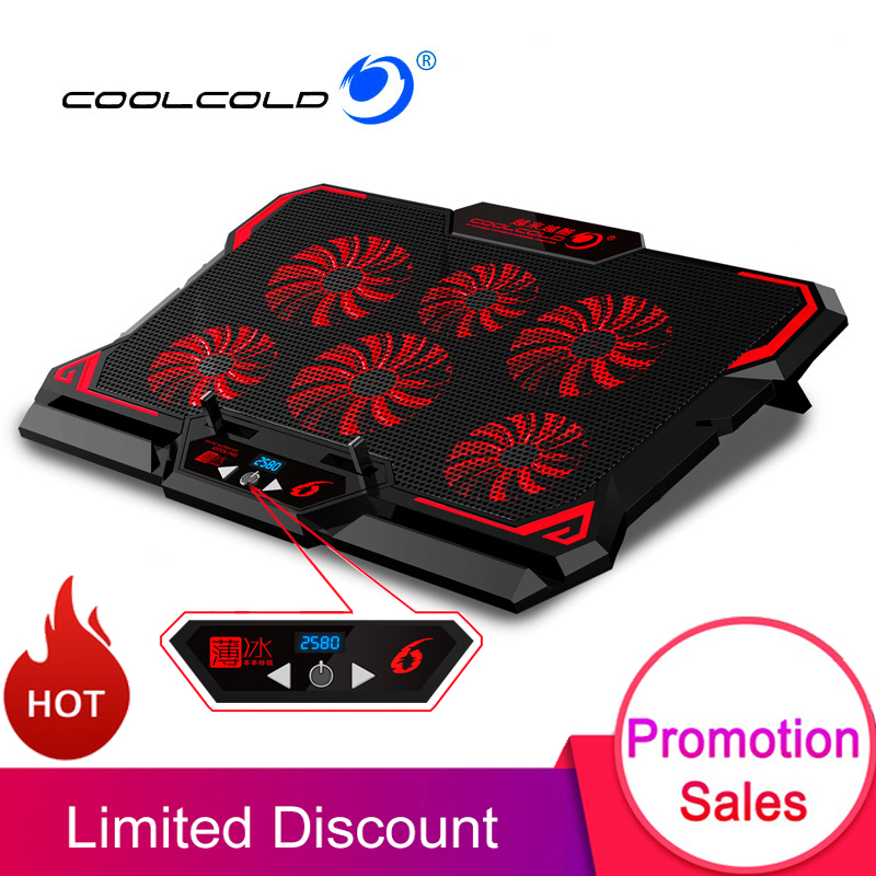 COOLCOLD <font><b>17</b></font> inch Gaming Laptop Cooler Six Fan Led Screen Two USB Port 2600RPM Laptop Cooling Pad <font><b>Notebook</b></font> <font><b>Stand</b></font> for Laptop image