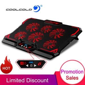 Image 1 - Coolcool 17 بوصة الألعاب مبرد كمبيوتر محمول ستة مروحة شاشة Led اثنين منفذ USB 2600RPM قاعدة تبريد كمبيوتر محمول حامل دفاتر الملاحظات لأجهزة الكمبيوتر المحمول