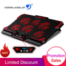 COOLCOLD 17 zoll Gaming Laptop Kühler Sechs Fan Led-bildschirm Zwei USB Port 2600RPM Laptop Cooling Pad Notebook Stand für Laptop(China)