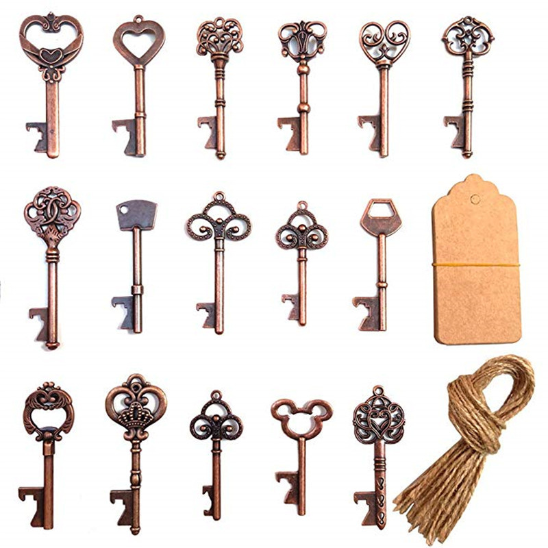 Retro Key Bottle Opener with Tag Card for Guest Gift Birthdays Wedding Party Favors Rustic Antique Decor