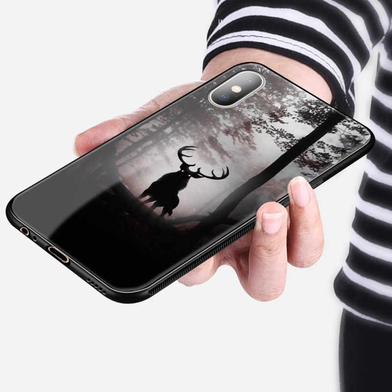 Hươu Tuần Lộc Nai Sừng Tấm Động Vật Vật Tổ Kính Thời Trang Silicone Mềm Điện Thoại Ốp Lưng Dùng Cho iPhone 6 6 S 7 8 plus X XR XS 11 Pro Max