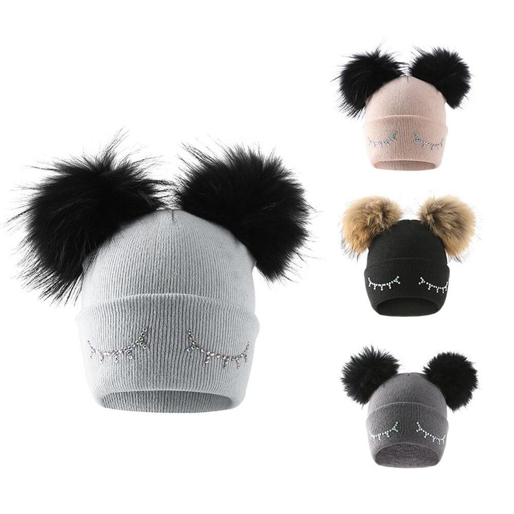 Winter Beanie Hat For Girls Cute Baby Boys Girls Winter Solid Knit Hat Wool Hairball Warm Cap Lovely Cat Ear Winter Hats N5