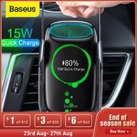 Baseus 15W Qi Drahtlose Auto Ladegerät für iPhone Samsung S8 S9 Drahtlose Lade Air Vent Halterung Handy Halter Stehen sensor Spann