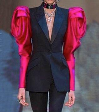 Yesexy 2019 Autumn Winter Patchwork Women Blazer Notched Neck Designer Women Set Single Button With Pocket 2PCS Women Suit MQ856