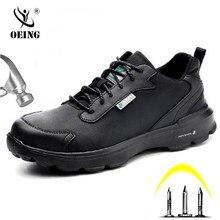 Sapatas de segurança de pouco peso à prova dlightweight água dos homens sapatas de trabalho do dedo do pé de aço para homem anti-smashing construção sapatilha reflexiva sapatos casuais