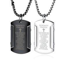 Religious Christian scripture  Christian Jesus  Titanium Cross Necklace Stainless Steel Black Prayer Cross Pendants Men Jewelry christian and religious poems