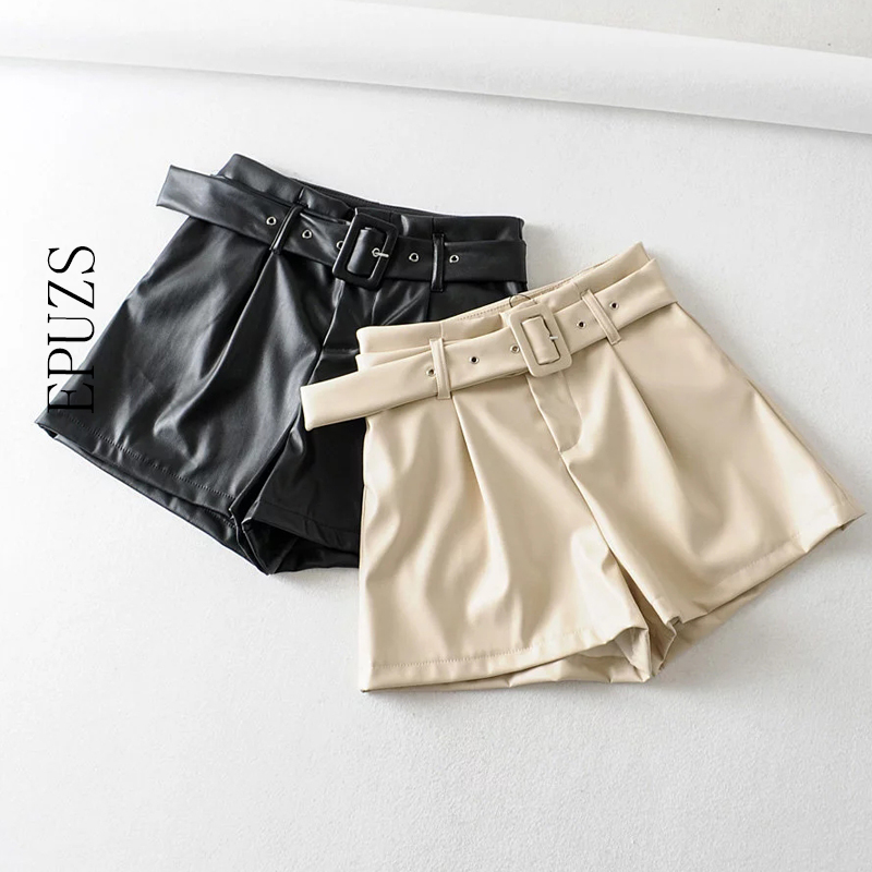 Women Belt Leather Shorts Women Casual Black Mini Shorts 2019 Women Biker High Waist Shorts Fashion Streetwear Ladies Shorts