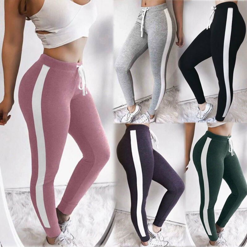 Women Striped Sport Pants High Waist Skinny Slim Fitness Leggings Running Gym Stretch Trousers Workout Pants