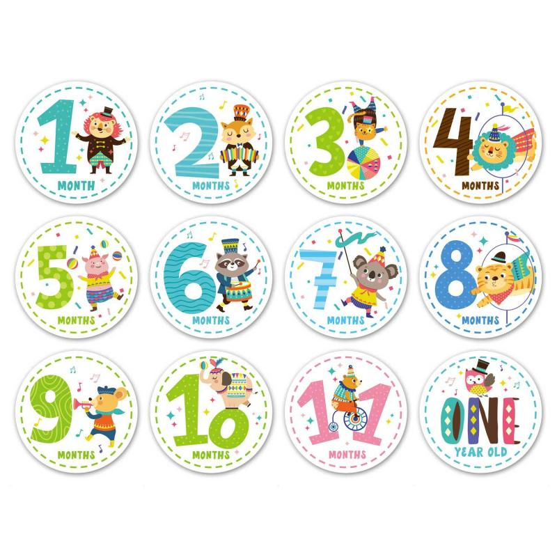 12pcs/set Month Sticker Baby Growth Commemorative Photo Prop Child Milestone Pregnant Woman Month Sticker