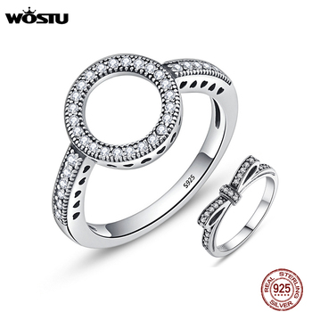 WOSTU 2019 Hot Sale Real 925 Sterling Silver Lucky Circle Finger Rings For Women Fashion Jewelry Gift Dropshipping CQR041 - discount item  36% OFF Fine Jewelry