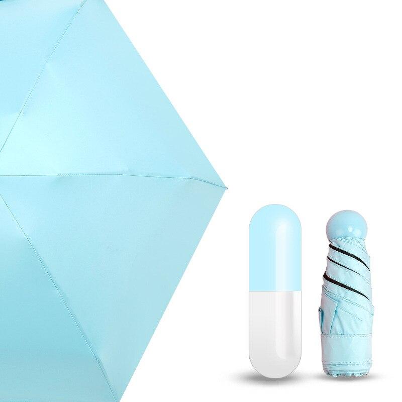 Мини-капсула зонтик пятискладной солнцезащитный анти-УФ UPF50+ Зонт parapluie складной женский Карманный Зонт для женщин - Цвет: Blue capsule