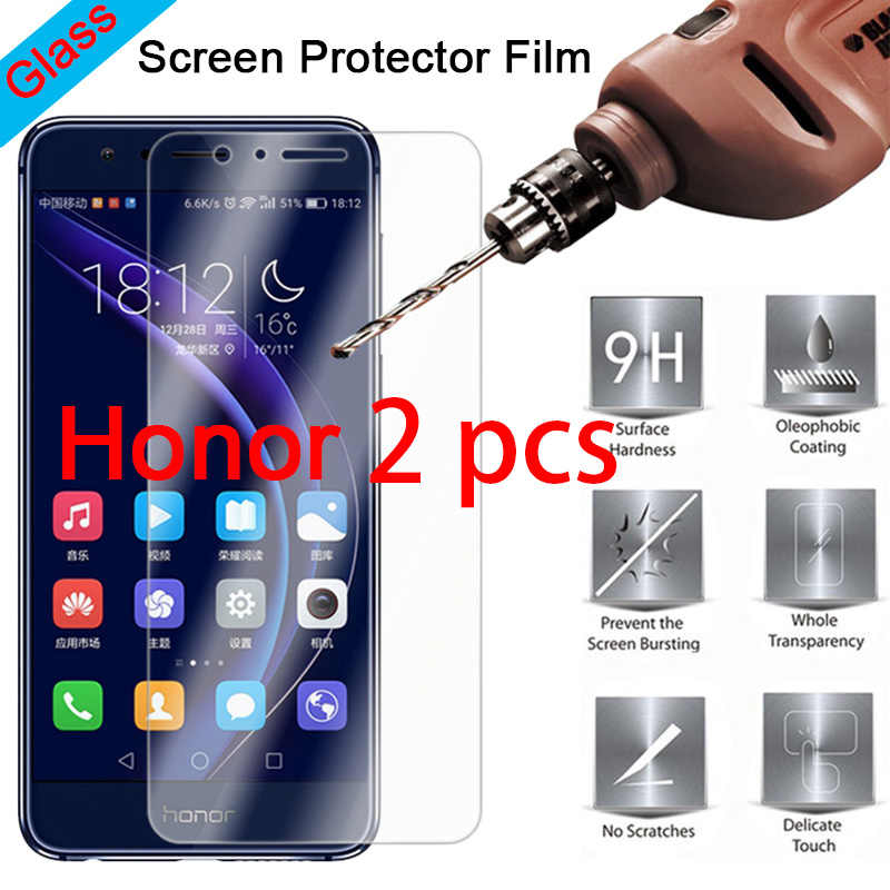 2PCS 9H Front Film Tempered Glass Screen Protector for Huawei Honor 8 Pro 8C 7S 7 Lite 6 Protective Glass For Honor Note 10 8