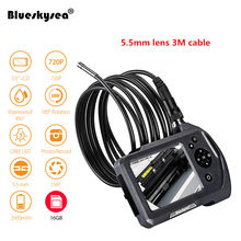"NTS150 5mm snake camera Blueskysea 3.5"" LCD Display Monitor Screen Inspection Endoscope 6 LEDS Borescope 3Meters Tube Cam(China)"