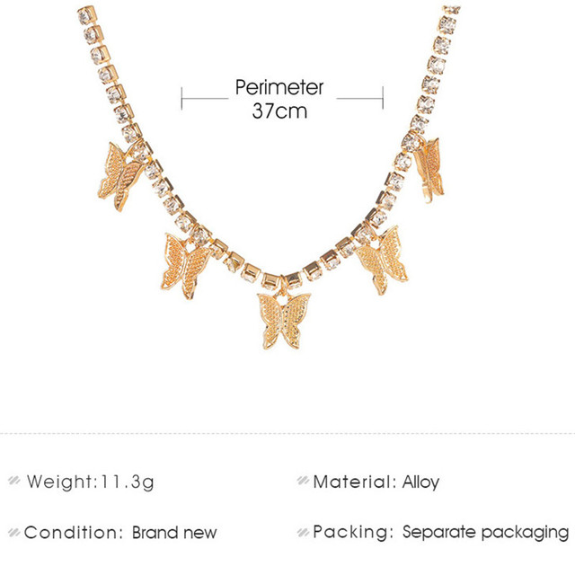 Modyle Women Jewelry Butterfly Pendant Necklace Female Rhinestone Shining Statement Crystal Charm Choker Necklace for Woman Gift 2