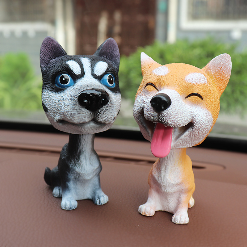 Nodding Dog Funny Shaking Head Toys Cute Bobblehead Puppy Dolls Swing Car Ornaments Home Auto Interior Decor Car Dashboard Toys