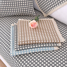 Four Seasons Cotton and Linen Non-slip Sofa Cushion Cover Towel Bay Window Cushion All-inclusive Solid Wood Sofa Cushion 1pcs