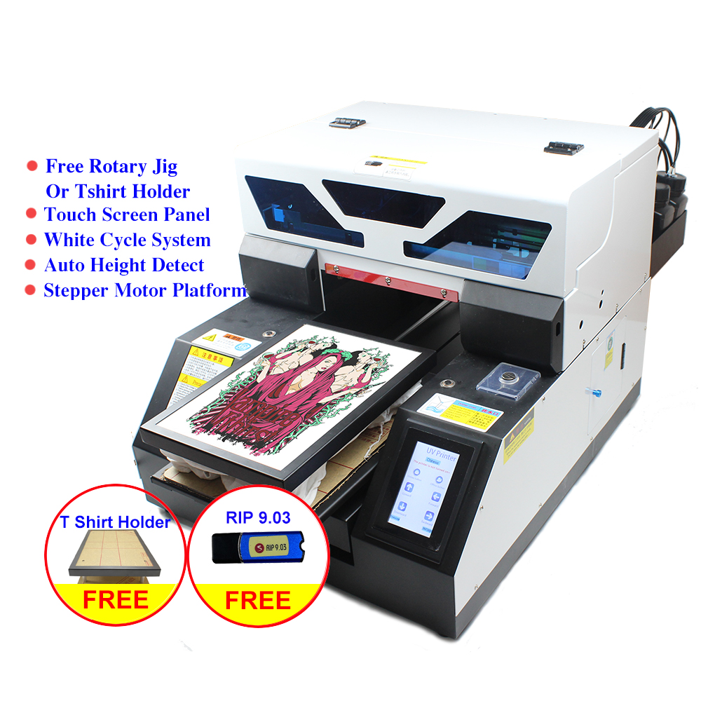 Dual-use Touch Screen A4 UV <font><b>printer</b></font> <font><b>DTG</b></font> <font><b>Tshirt</b></font> textile fabric UV printing machine a4 <font><b>for</b></font> bottle phone case Jeans Metal wood pen image